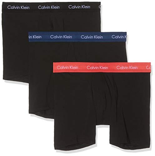 Calvin Klein Herren Boxer Brief 3PK Slip, Schwarz (B - Black/Cayenne/Airforce Wb Ggf), Large (Herstellergröße: L) (Herren Boxer Briefs Schwarz)