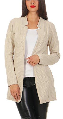 Damen lang Blazer mit Taschen ( 573 ), Farbe:Beige, Blazer 1:44 / XXL (Damen Sakkos Lange)