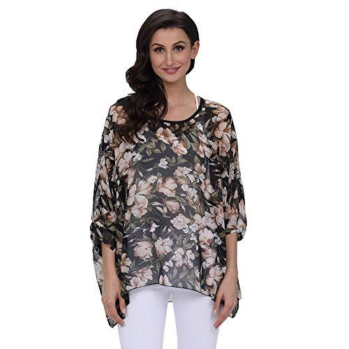PorLous T-Shirt, Frau 2019 Kurze Ärmel Mode Frauen Chiffon Floral Bedruckte Beachwear Bademode Bikini Cover Up Sonnencreme-Shirt Elegant Bequem Groß