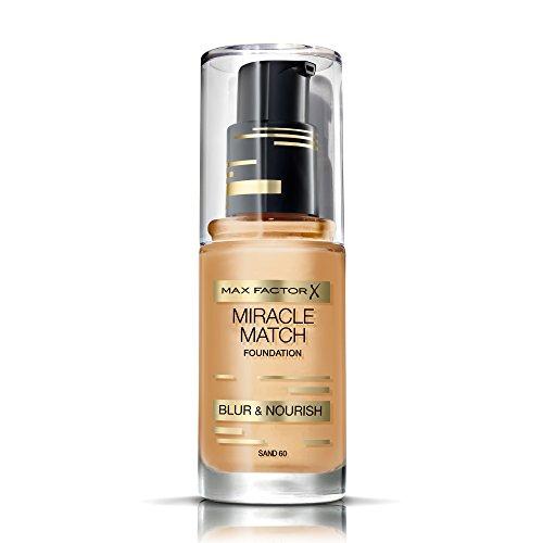 Foundation-make-up Sand (Max Factor Miracle Match Foundation Sand 60 - Flüssig Foundation mit Weichzeichner-Effekt - Passt sich jedem Hautton an - 1 x 30 ml)