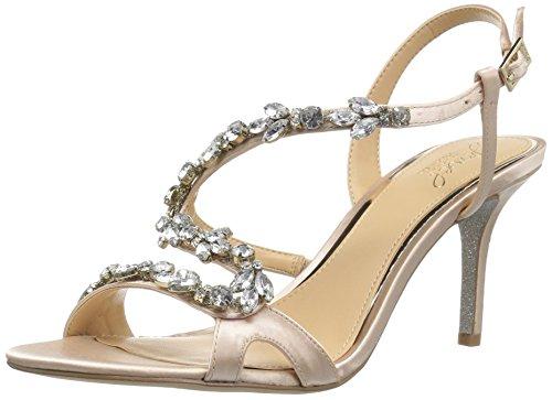 Badgley Mischka Damen GANET Sandalen mit Absatz, champagnerfarben, 40 EU Jewel Strap Sandal
