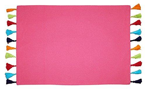 Lushome cotone reversibile pom pom tovagliette da tavola Set di 6colori disponibili, Cotone, Pink and (Reversibile Mat)