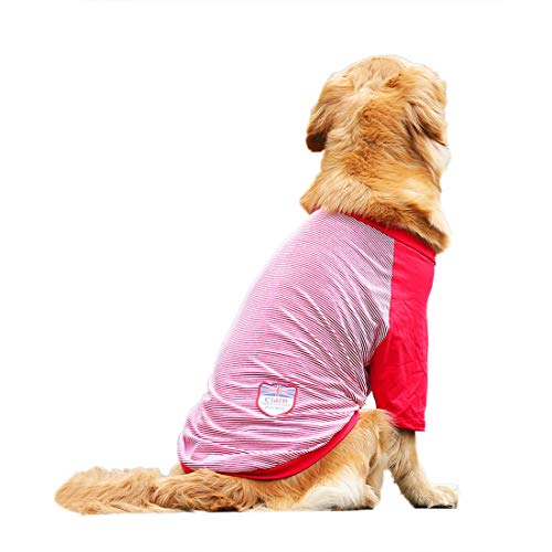 Hundeshirt Grosse Hunde Gefüttert T-Shirt Mittlere Hunde Baumwolle Hemd Hundekostüm Baseball Jersey Tee Weste Frühjahr Sommer Bekleidung Atmungsaktiv (6XL, rot) -