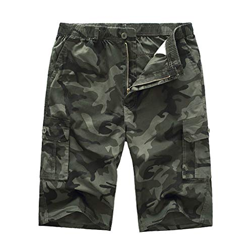 Bermudas Herren Sommer Camouflage GreatestPAK Cargo Kurze Hose Shorts Lose Einfarbig Outdoor Jogging Sports Tasche Arbeits Hosen,Armeegrün,EU:XXL(Tag:4XL) - Cuffed Bermuda Short