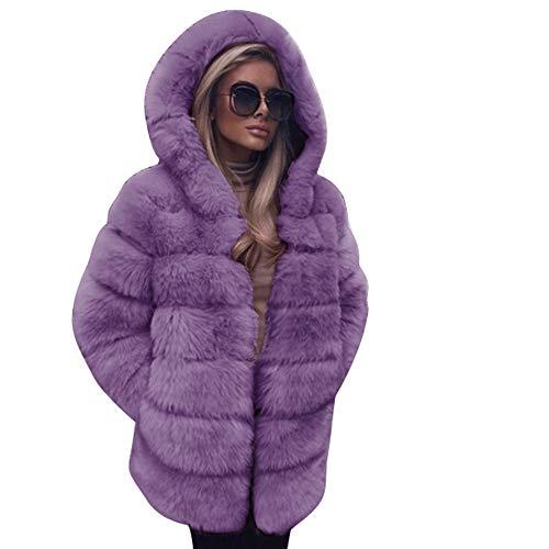 GOKOMO Frauen Arbeiten Faux-Pelz-Mantel mit Kapuze Herbst-Winter-warmen Mantel um (Pelz Mantel Kapuze Mit)