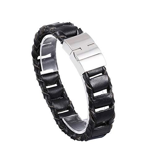 ZYLBS Männer Fortgeschritten Leder Armband Retro Persönlichkeit Weberei Rostfreier Stahl Armband Männer Trend Zubehör Geschenk -