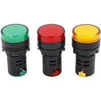 heschen 22mm LED indicador luz piloto AD16–22d/S 12VDC 20mA rojo verde amarillo color de la luz 3unidades