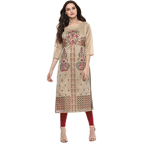 Indimania Women's Beige Color 3/4 Sleeve Colour Pigment Print Straight Festive Wear Chanderi Silk Kurta (IMKUCH20026)  available at amazon for Rs.603