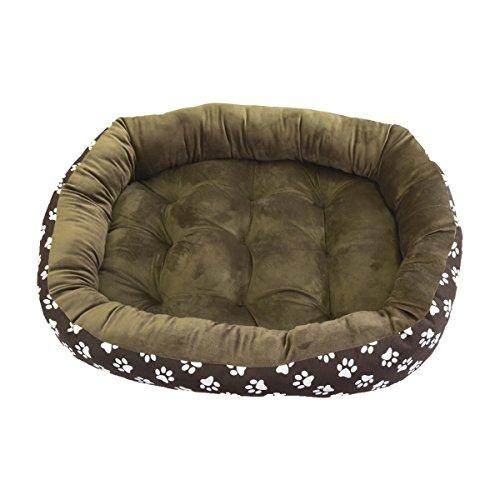 Cama para perro y gato marrón huellas blancas 95*80cm.