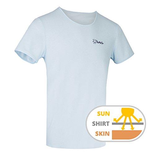 100% Baumwolle Braunen T-shirt (TanMeOn Durchbräunendes T-Shirt für Herren, T-Shirt braun Werden, Schnitt Rundhals, Farben: Weiss, Blau oder Grau, Größen S, M, L, XL, XXL (Blau, M))