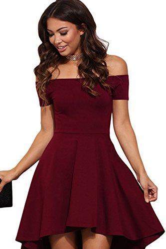 Féminin, élégant au large de la robe épaules haut bas Swing red