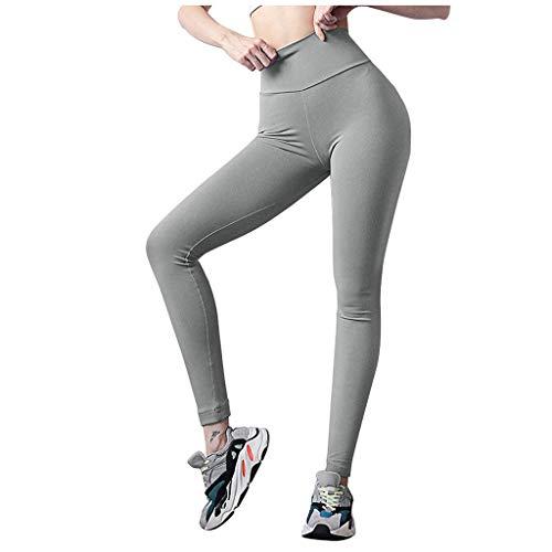 Fenverk Damen High Waist Leggings Himmeldrucken Jogginghose - Frauen Leggins Yoga Hose Push Up Fitnesshose Sporthose Gymnastic Hosen Tights Atmungsaktiv Schweißabsorbierend(B Grau,L)