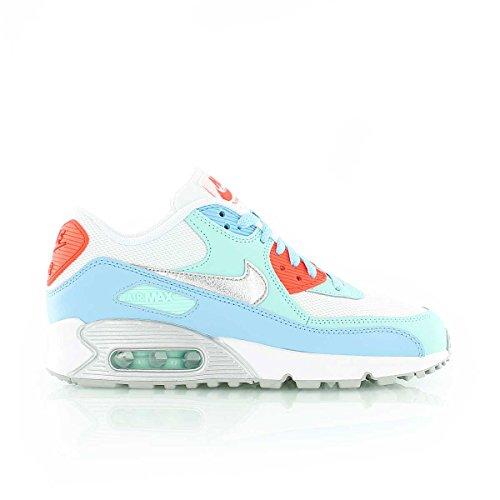 Nike Unisex-Kinder Air Max 90 Gs 724855-100 Sneaker, Mehrfarbig (White,Blue 001), 38.5 EU -