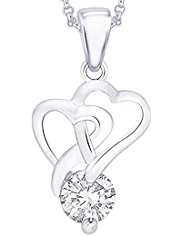 "Peora Overlap Twin Heart Rhodium Plated Sterling Silver Pendant For Women Girls With FREE 18"" Chain"