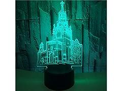 Idea Regalo - yyanliii multifunzionale lampada Torre campana 3d illusione ottica decorativo luce notturna 7cambia colore Touch tavolo scrivania lampada USB alimentata lampada camera da letto decorativa