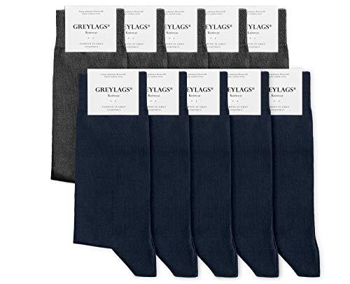 Greylags Premium 10er Pack Businesssocken Socken für Damen und Herren, Blau/Grau, Größe 47-50