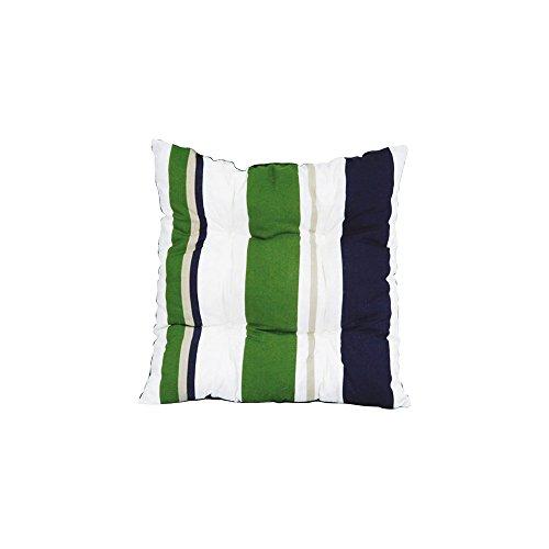 JARDIN PRIVE Galette de chaise flocons MARYLAND 38x38x8 cm bleu, vert et blanc