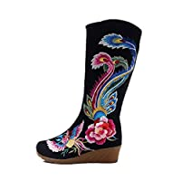 Tianrui Crown Women and Ladies Embroidery Knee Boots Wedge Heel Boot Shoes