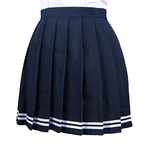 WEIMEITE Frauen Japan Hohe Taille Plissee Cosplay Kostüme Röcke Frauen Schuluniformen Plaid Plissee Mini Rock (Plissee-leder-kilt)