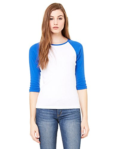 Ladies' Baby Rib 3/4-Sleeve Contrast Raglan T-Shirt WHITE/ TR ROYAL M - 2004 Weiße T-shirt
