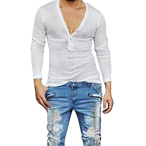 Proumy 2019 Neu Sommer Herren Hemd Slim Fit Einfarbig Atmungsaktiv Lange Ärmel Hemden Freizeit Taste Fest V Ausschnitt Hemden Tops (S, White) -