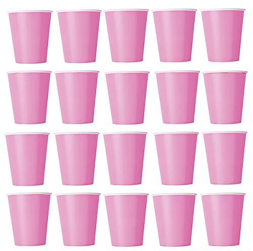nk) Einwegbecher für Kaltgetränke und Heißgetränke aus Pappe umweltfreundlich, Hochzeit, Geburtstag, Kaffeebecher, Picknick, Garten, Party, Grillen Pink ()