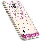 MoreChioce compatible avec Coque LG G7 ThinQ Étui Silicone,Jolie motif Chat Fleur Cerisier Transparente Anti-Rayures Housse Protecteur Crystal Flexible Gel Souple TPU Case Bumper Skin