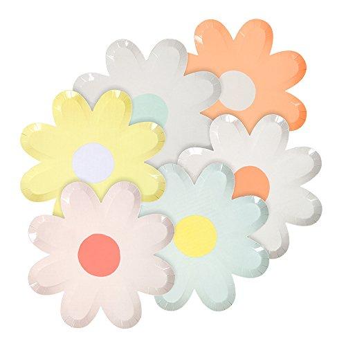 Meri Meri Blumen Pappteller Pastel Daisy für Ostern und Frühling - Mottoparty Blumenpappteller