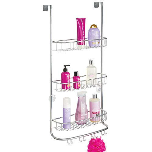 mDesign Estantería de ducha para colgar - Colgador para ducha de fácil instalación sin agujeros - Cestas metálicas grandes para accesorios de ducha con 3 repisas y 8 ganchos - plateado