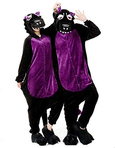 Schwarzer Drache Cosplay Pyjamas Bekleidung Animal Erwachsene Unisex Schlafanzüge Karneval Onesies Jumpsuits Anime Carnival Spielanzug Kostüme Weihnachten Halloween Nachtwäsche Mädchen