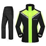 WY Outdoor Motorrad Regen Anzug Für Männer Wiederverwendbare Regenkleidung (Regenjacke Und Regen Hosen Set) Erwachsene Wasserdicht Regendicht Winddicht Mit Kapuze draussen (Farbe : A, größe : XL)