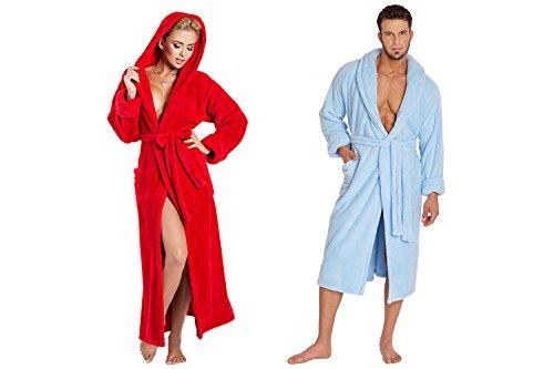 Ein Set bestehend aus 2 Bademänteln ist ein ideales Geschenk, für den gemeinsamen Wohlfühlfaktor in kalten Nächten. (XS-2XL) Hellblau/Rot
