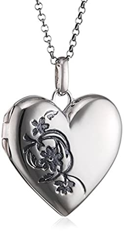 Elements Silver 925 Ladies' Floral Pattern Sterling Silver Heart Locket Engraved with Belcher Chain