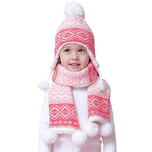 Dinokids Baby-Mädchen Rosa Knit gezeichneter Hut Schal Set Rosa Pom Pom Wollmütze und Schal 1-2t 46-48cm Rosa - Merino Knit Hat