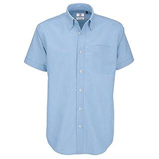 B&C Men's Oxford Short Sleeve Shirt Casual Blue, 15.5 (Size:Medium)