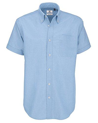 B&C Oxford Hemd für Männer, kurzarm (3XL) (Oxford Blau) 3XL,Oxford Blau (Blaue Oxford-hemd)
