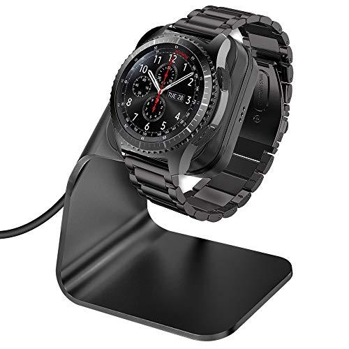 CAVN Ladegerät Kompatibel mit Samsung Galaxy Watch 46mm /42mm /Gear S3 Induktive Ladestation, (150cm/4.9ft) Ersatz USB Aluminium Ladekabel Schnellladegerät Lade Dock für Galaxy Watch/Gear S3, Schwarz (Ladestationen Für Samsung)