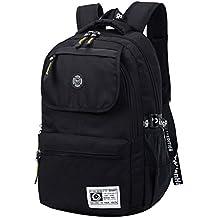 Super moderno unisex nylon bolso de escuela impermeable mochila de senderismo Cool deportes mochila portátil bolsa, mujer hombre Infantil, negro, 36-55L