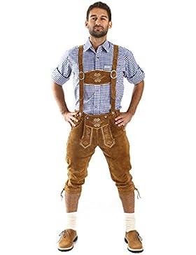Almbock Trachtenlederhose Herren Kniebund | Original Bayerische Lederhose Herren Tracht | Trachtenhose Oktoberfest...