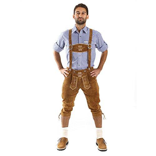 Almbock Lederhose braun Herren | Trachtenlederhosen Herren lang mit Hosenträgern und Messertasche | Lederhose Österreich - Trachtenlederhose Herren 52