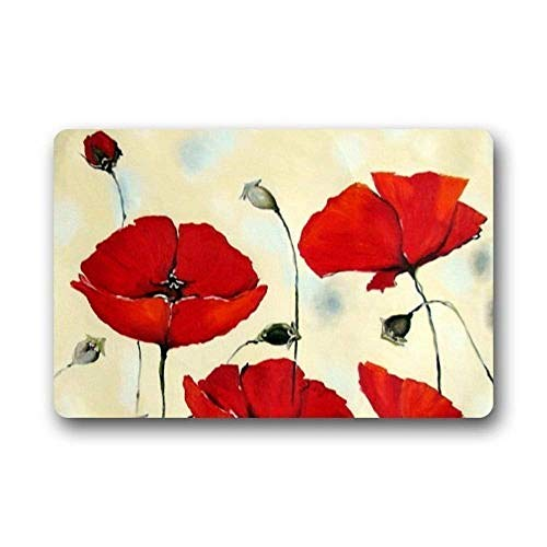 Vidmkeo Door Mats Non Slip Rectangle Poppy Flowers Painting Design Door and Outdoor Entrance Doormat...