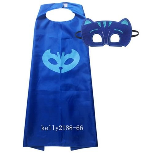 2pcs gestellten Masken Cape Maske Set PJ Owlette Catboy Cosplay Kind Kostüm Party (Kostüm Catboy Masken Pj)
