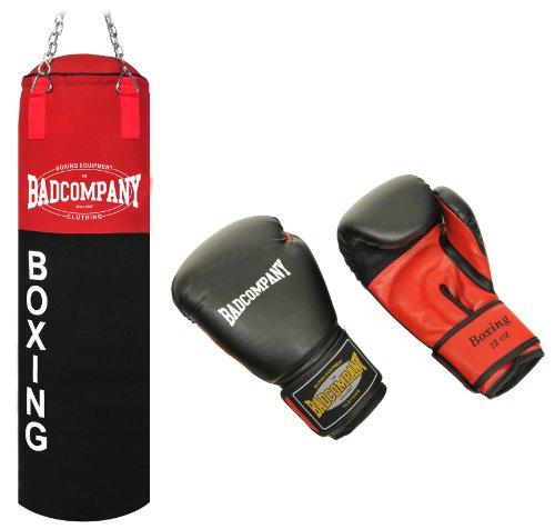 """Deluxe Box-Set inkl. Canvas Boxsack 100 x 30cm gefüllt, Vierpunkt-Stahlkette und PU Boxhandschuhe """"Red Dragon"""""""