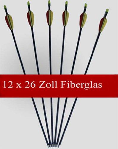 12 Flèches / Longueur: 26 pouces / Fabriqué à partir de fibre de verre