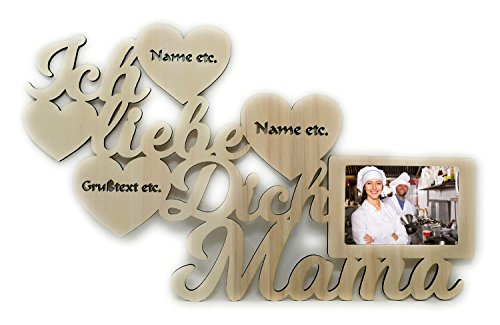 Schlummerlicht24 Licht & Deko Mutter Geschenkideen Danke das es dich gibt Geschenk zum Muttertag Geburtstag beste Mama Geschenke personalisiert mit Name Gravur Bilderrahmen 10×15 cm
