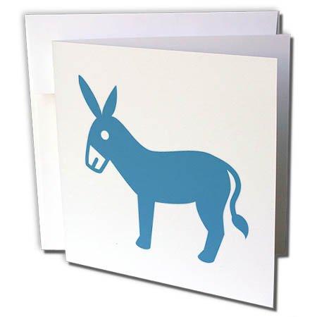 3drose Grußkarte Esel, Bild von einem blau Esel auf weißem Hintergrund, 15,2x 15,2cm (GC 265898_ 5) (Bild Weißem Hintergrund)