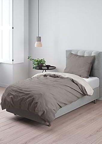 Aminata – Bettwäsche 135x200 cm Baumwolle + Reißverschluss zum Wenden unifarben Braun & Beige Wendebettwäsche einfarbig Taupe & Creme 2-teiliges Bettwäscheset Ganzjahres Bettbezug (Französisch Stil Bett)