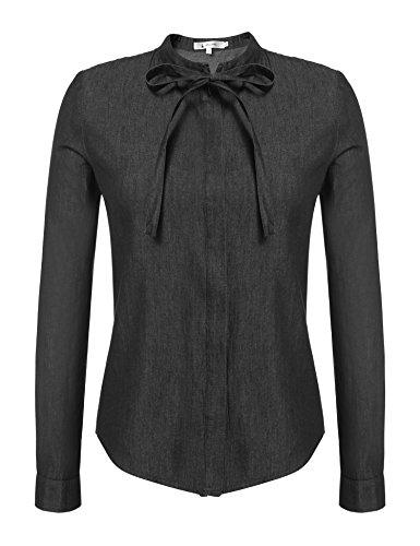 ANGVNS Damen Elegant Tops Shirt Bluse Jeans Jeansbluse Locker Freizeit Langarm Stehkragen Baumwolle Schleife Schwarz L