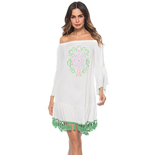 Moojm Frauen Quaste Bikini Kittel Bestickt Bademode Trägerlosen Lotus Leaf Rand Strand Sonnenschutz Kleidung (Kleid Bestickt Trägerlosen Baumwolle)