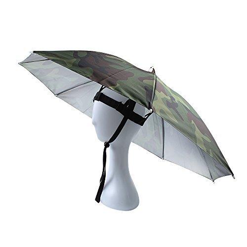 JANGANNSA Angelschirm Regenschirm, faltbar, verstellbare Kopfbedeckung, Camouflage